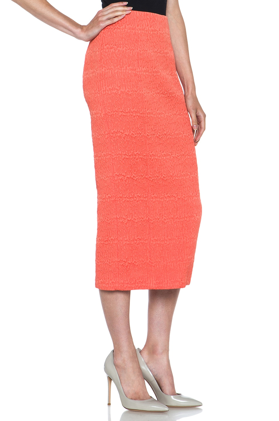 Image 3 of ROCHAS Poly Fitted Skirt in Coral