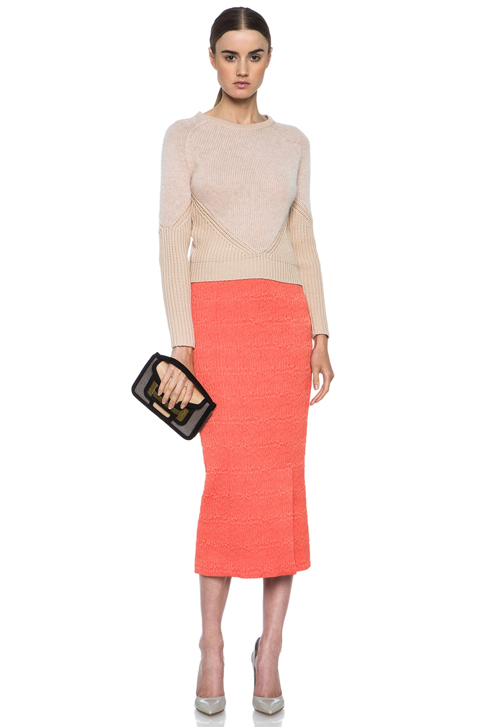 Image 5 of ROCHAS Poly Fitted Skirt in Coral