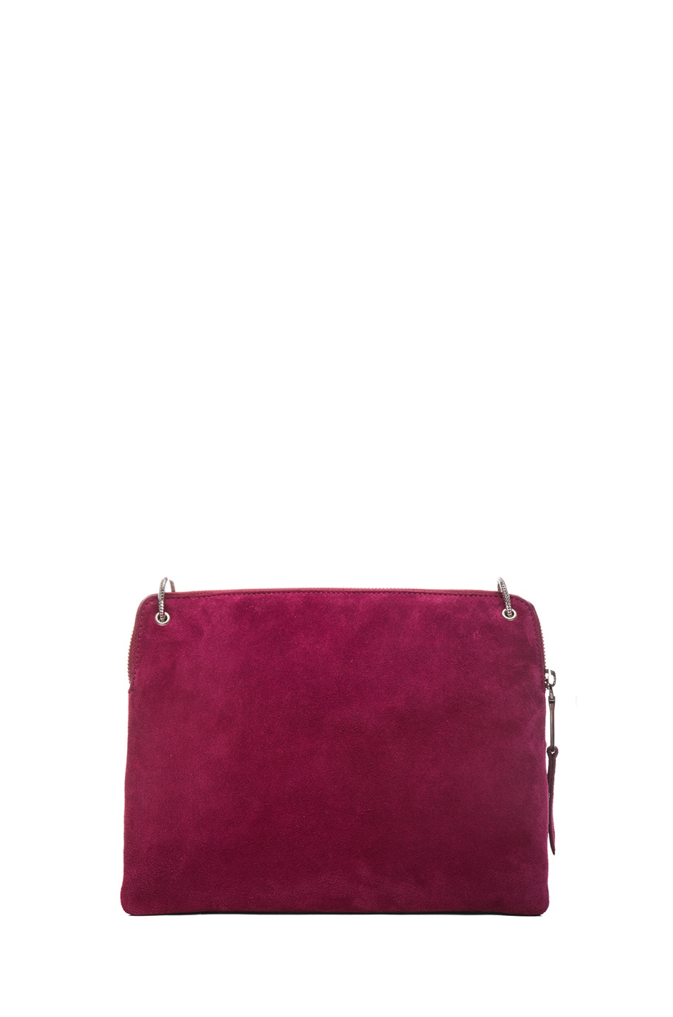 Image 2 of ROCHAS Small Borsa Suede Clutch in Claret