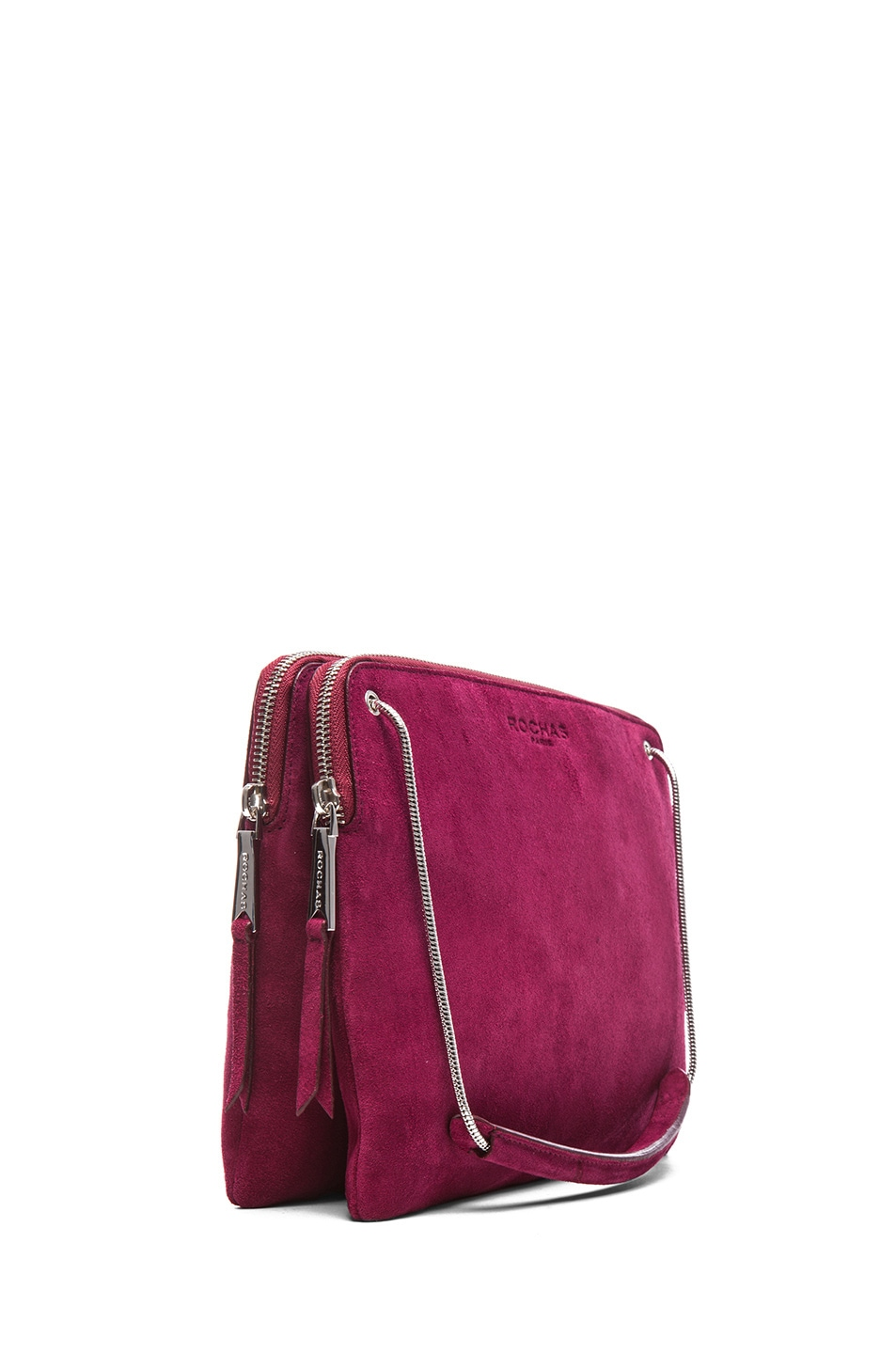 Image 3 of ROCHAS Small Borsa Suede Clutch in Claret