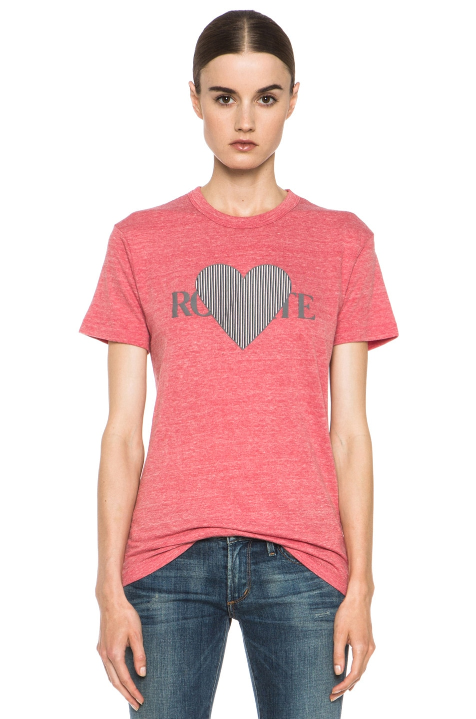 Image 1 of Rodarte 3D-Rodarte Poly-Blend Heart Tee in Red