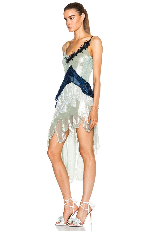 Image 2 of Rodarte Beaded Tulle & Lame Dress in Navy & Seafoam
