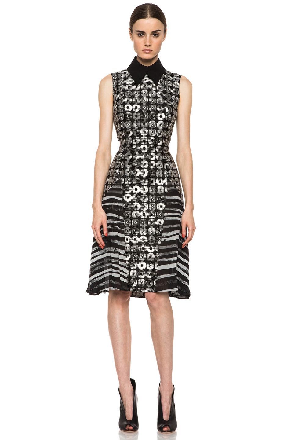 Image 1 of Rodarte Geometric Silk Motif Dress in Black Multi
