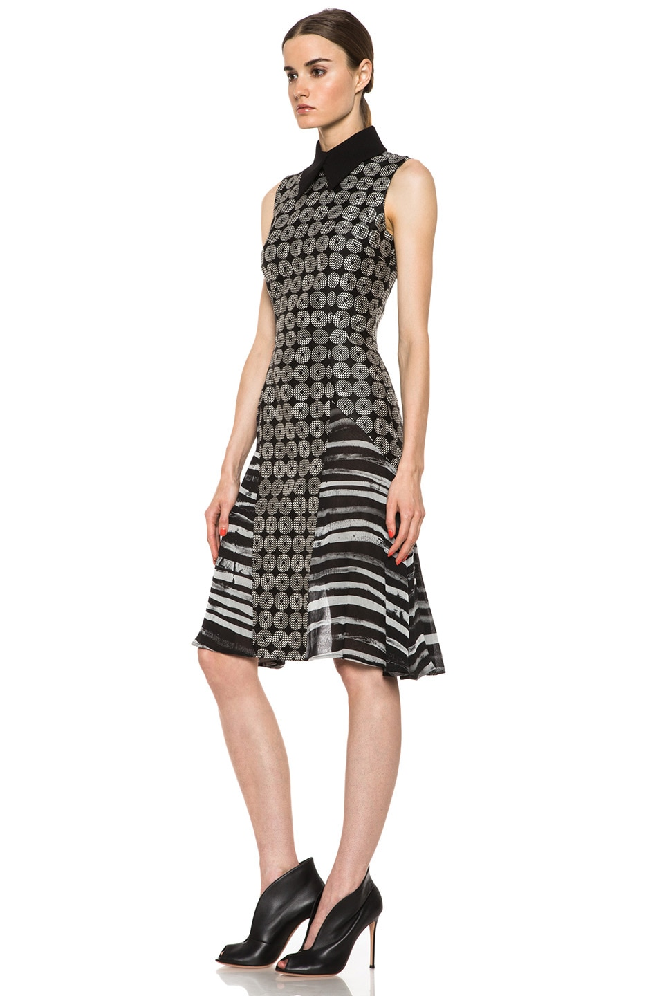 Image 2 of Rodarte Geometric Silk Motif Dress in Black Multi