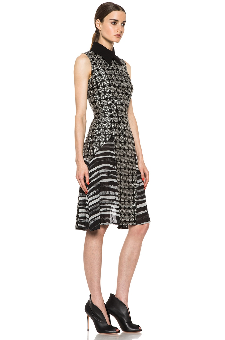 Image 3 of Rodarte Geometric Silk Motif Dress in Black Multi