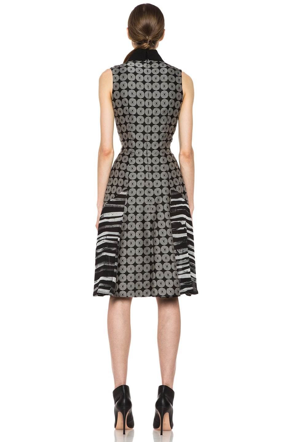 Image 4 of Rodarte Geometric Silk Motif Dress in Black Multi