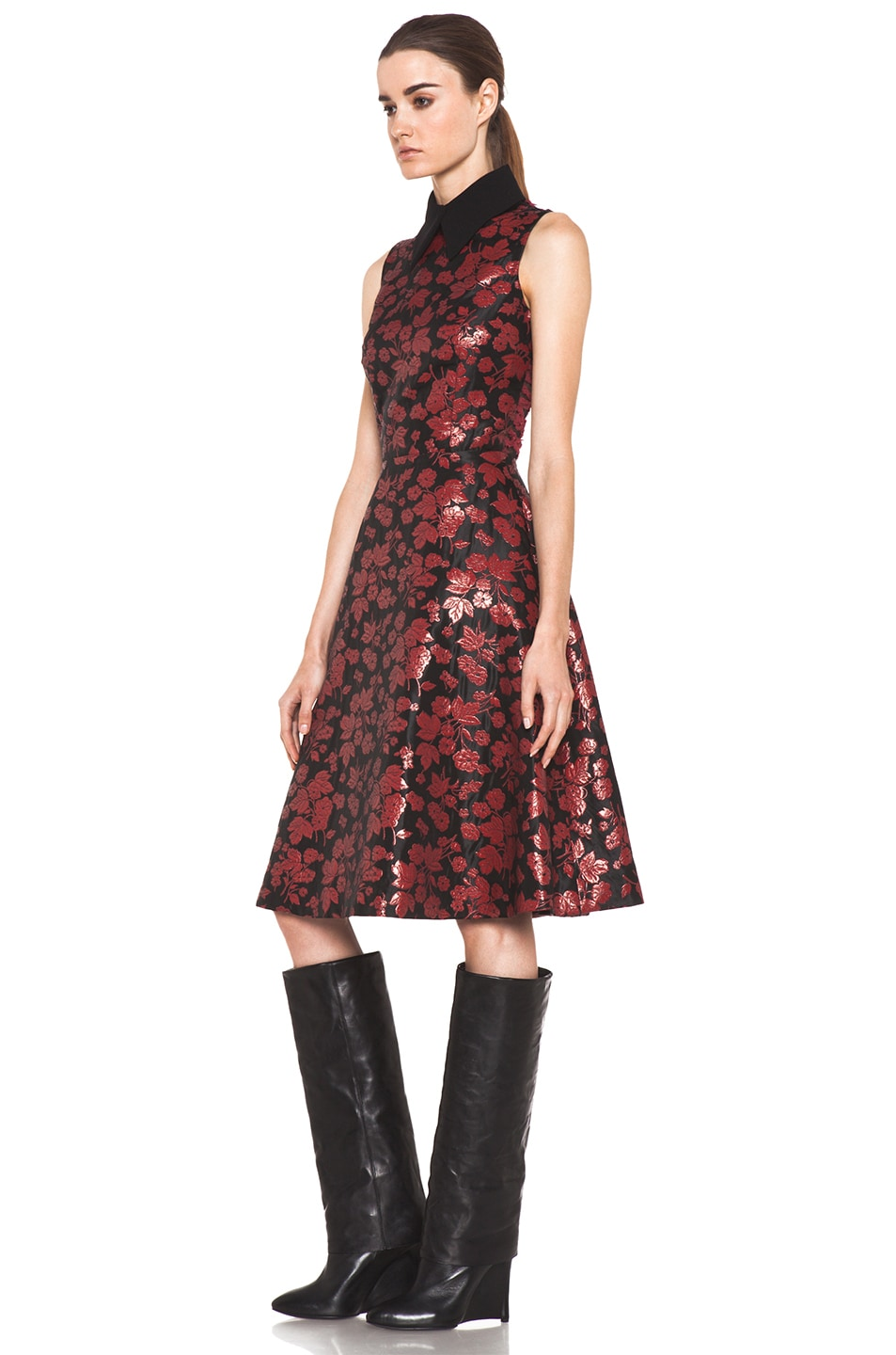 Image 2 of Rodarte Embroidered Tulle Dress in Red & Black Floral