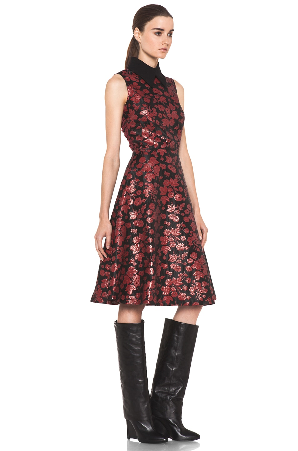 Image 3 of Rodarte Embroidered Tulle Dress in Red & Black Floral