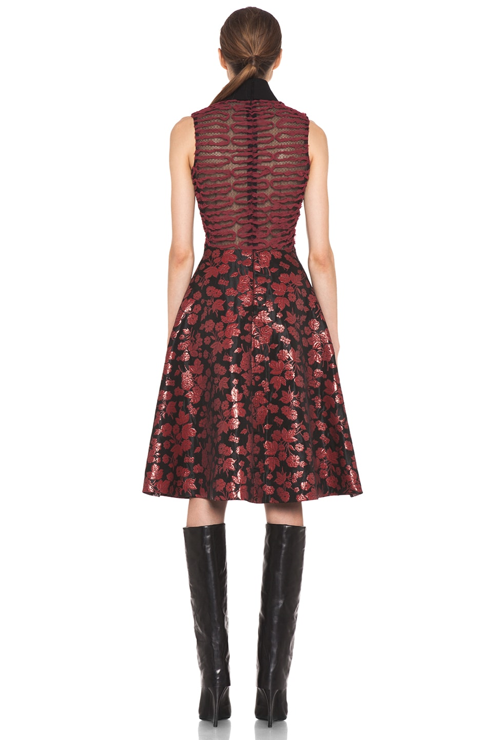 Image 4 of Rodarte Embroidered Tulle Dress in Red & Black Floral