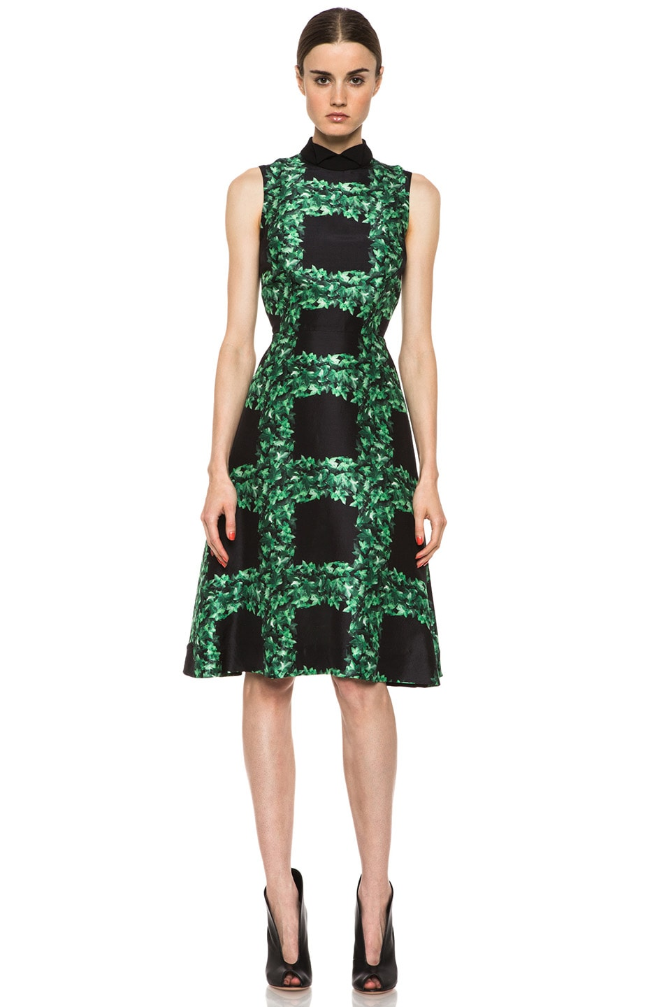 Image 1 of Rodarte Ivy Trellis Print Sleeveless Dress in Black & Green