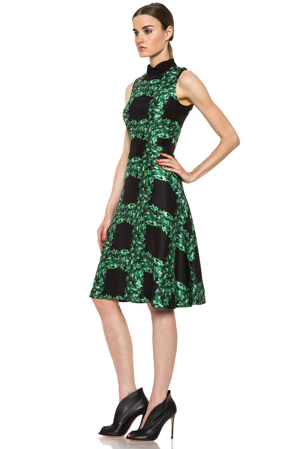 Image 2 of Rodarte Ivy Trellis Print Sleeveless Dress in Black & Green