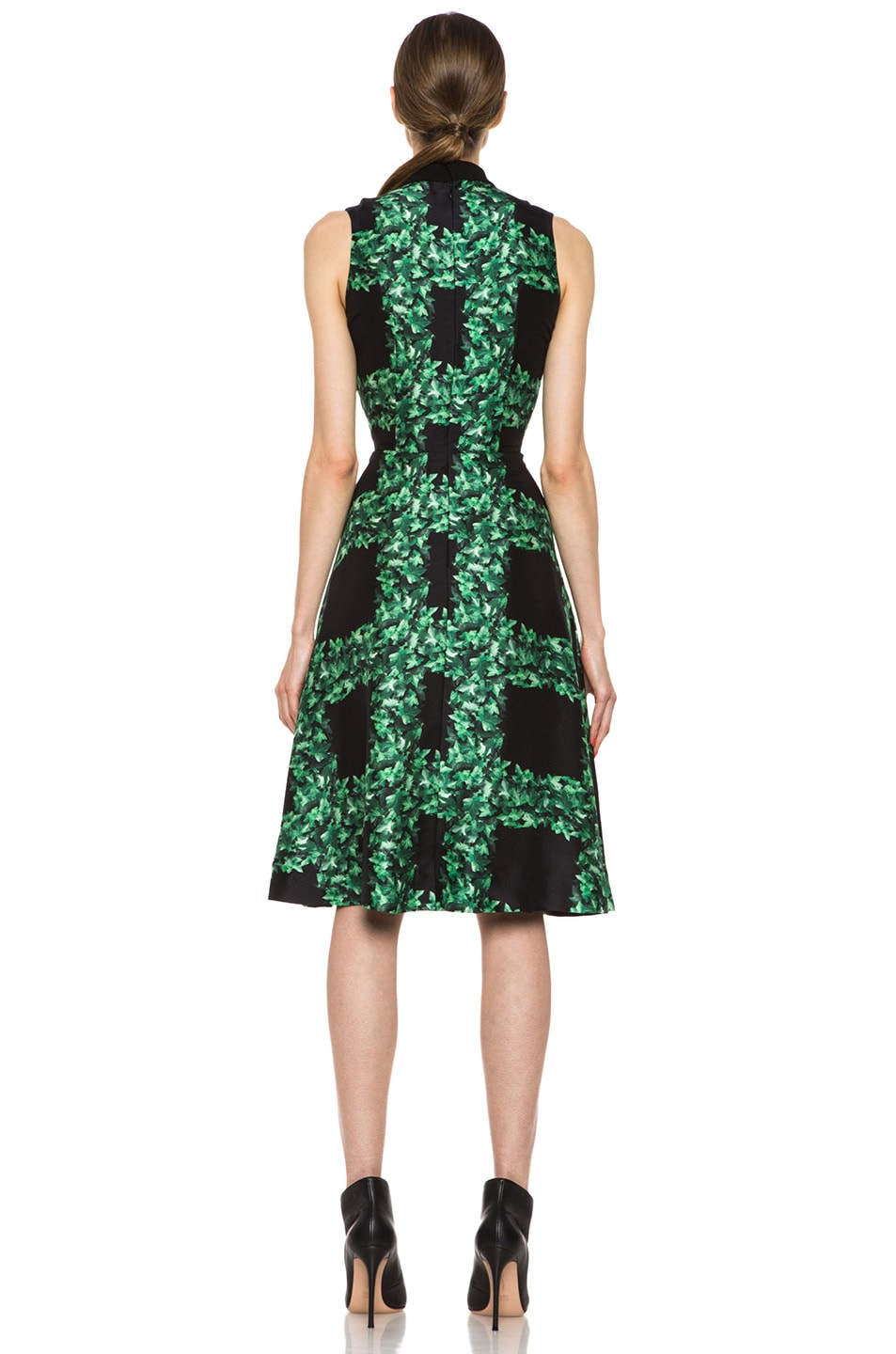Image 4 of Rodarte Ivy Trellis Print Sleeveless Dress in Black & Green