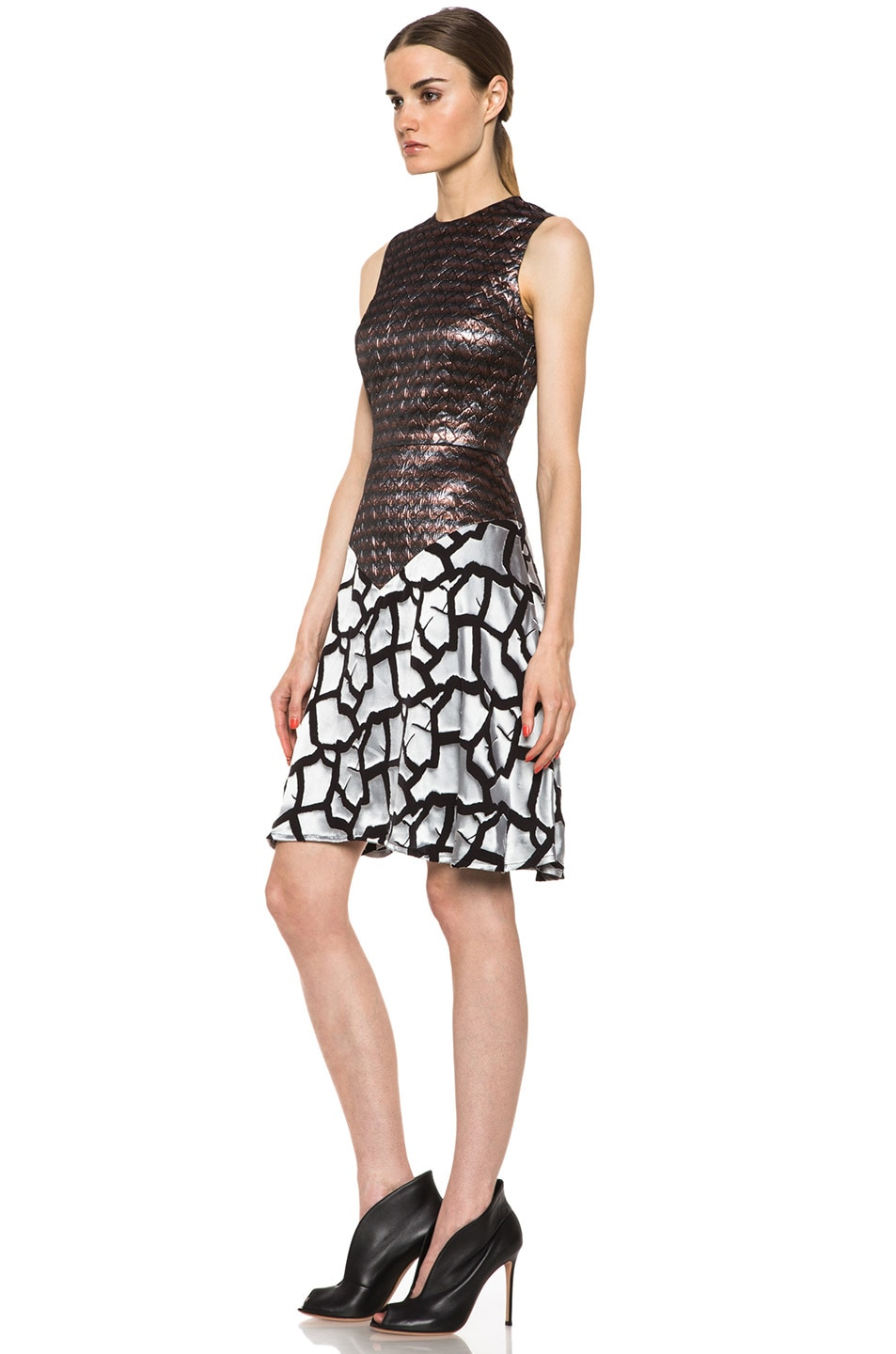 Image 2 of Rodarte Rose Brocade Dress in Black & Metallic