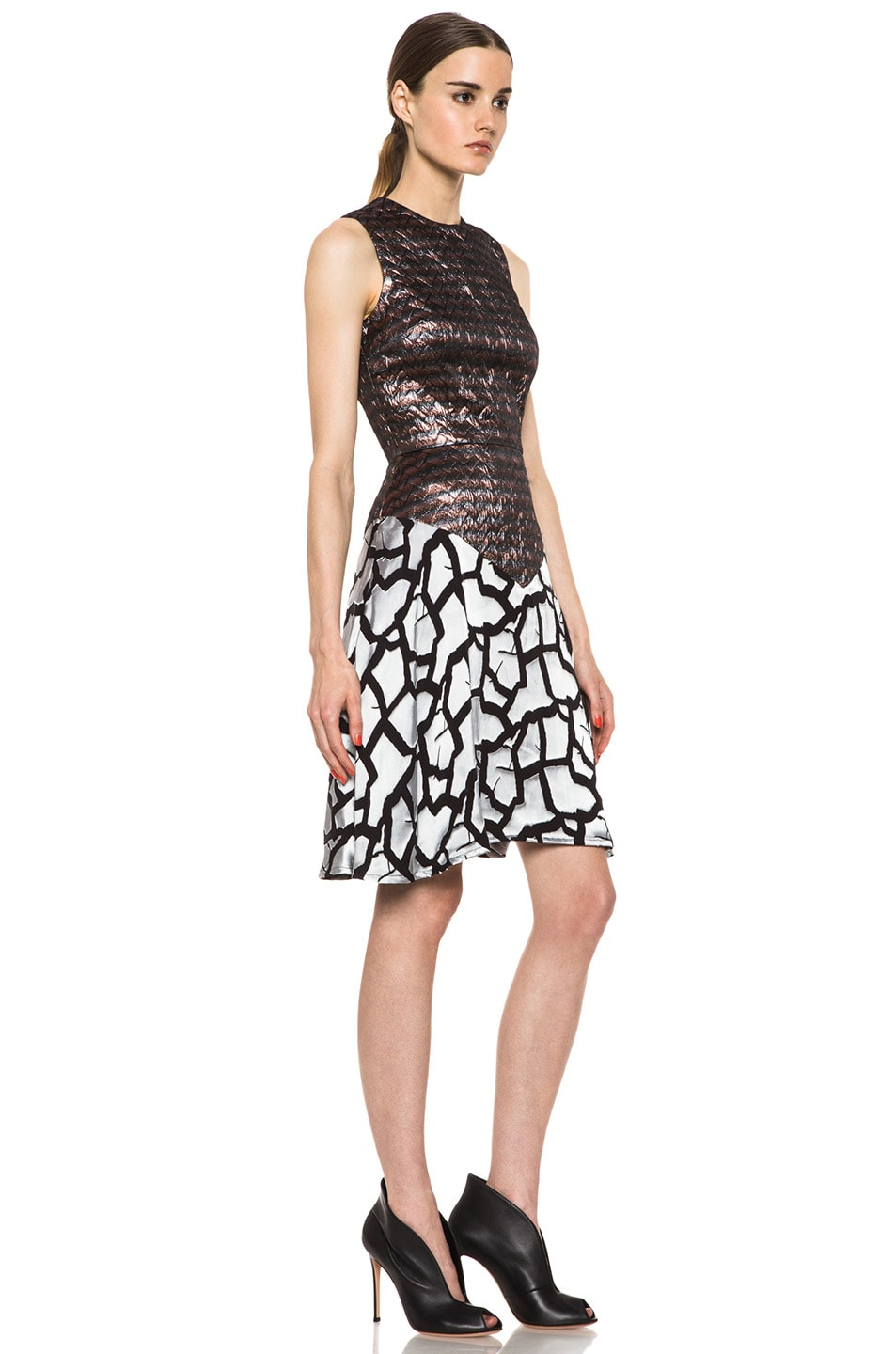 Image 3 of Rodarte Rose Brocade Dress in Black & Metallic