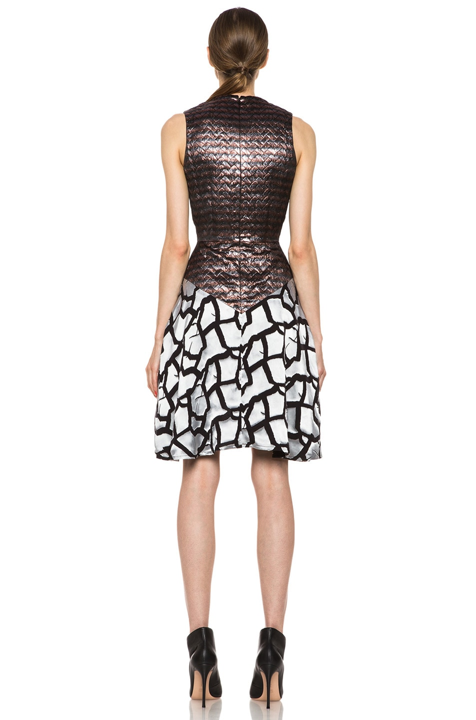 Image 4 of Rodarte Rose Brocade Dress in Black & Metallic