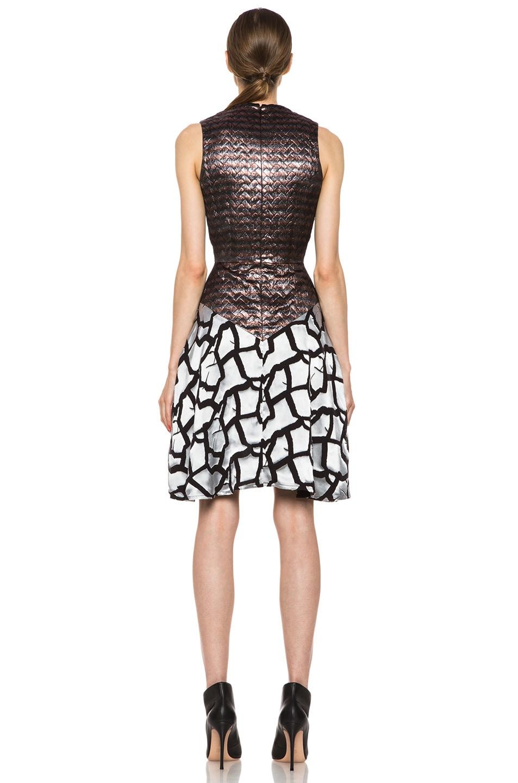 Image 4 of Rodarte Rose Brocade Dress in Black & Metallic