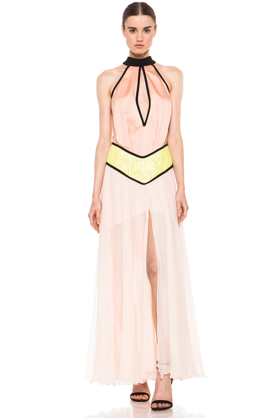 Image 1 of Rodarte Fraped Silk Gown in Peach & Yellow