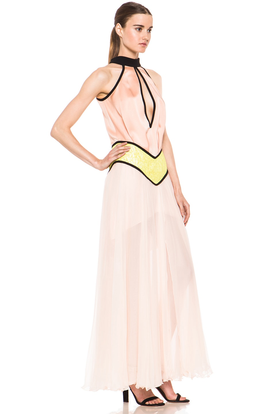 Image 3 of Rodarte Fraped Silk Gown in Peach & Yellow