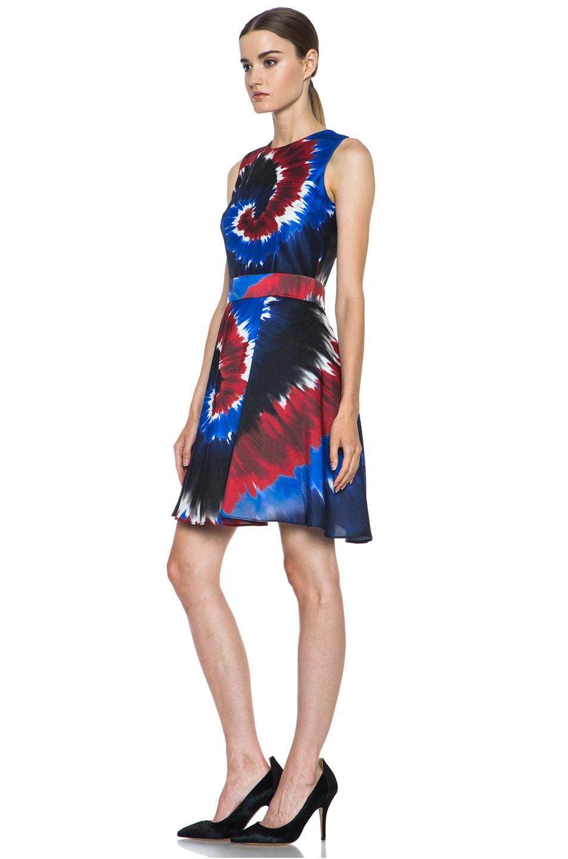 Image 2 of Rodarte Printed Tie Dye Raw Silk Belted Dress in Red & Blue & Black