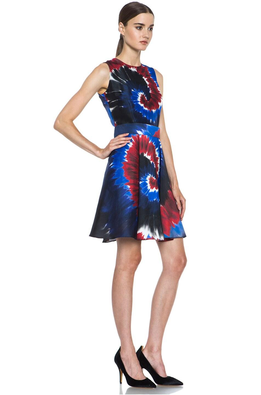Image 3 of Rodarte Printed Tie Dye Raw Silk Belted Dress in Red & Blue & Black