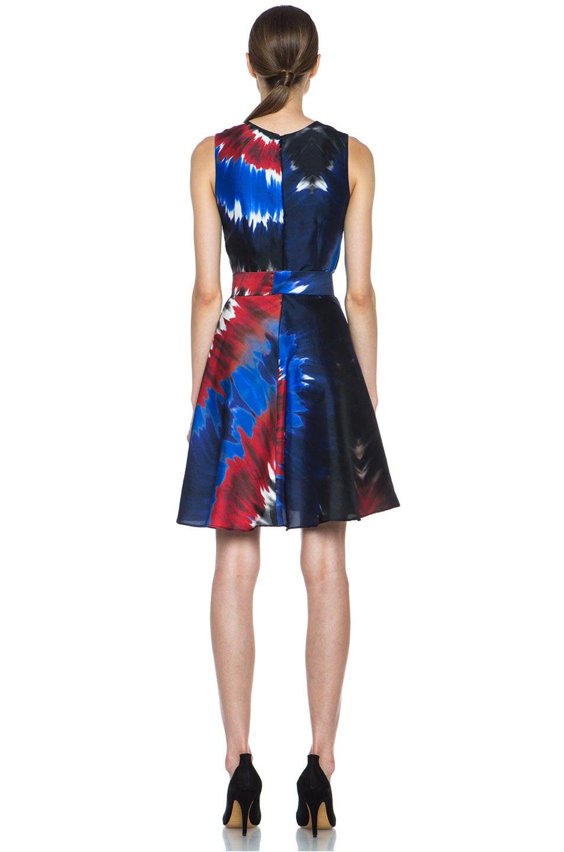Image 4 of Rodarte Printed Tie Dye Raw Silk Belted Dress in Red & Blue & Black