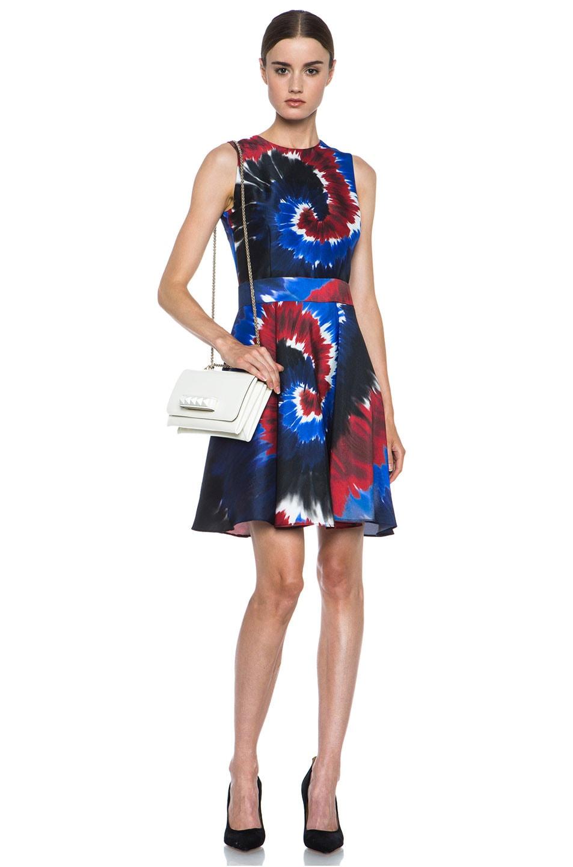 Image 5 of Rodarte Printed Tie Dye Raw Silk Belted Dress in Red & Blue & Black