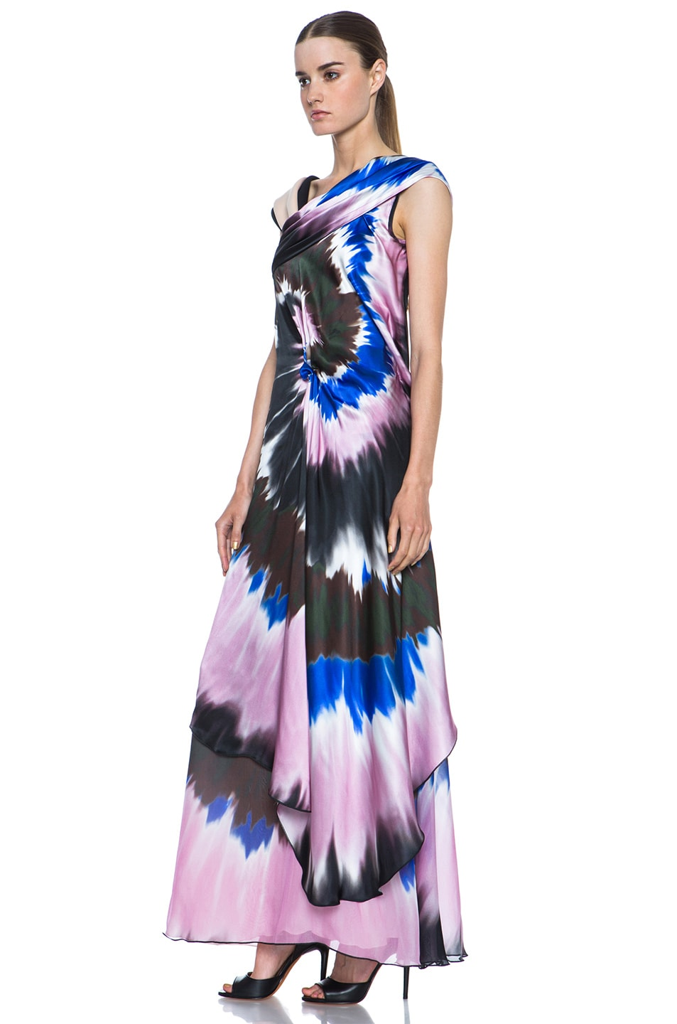 Image 2 of Rodarte Printed Tie Dye Silk Gown in Blue & Pink & Black