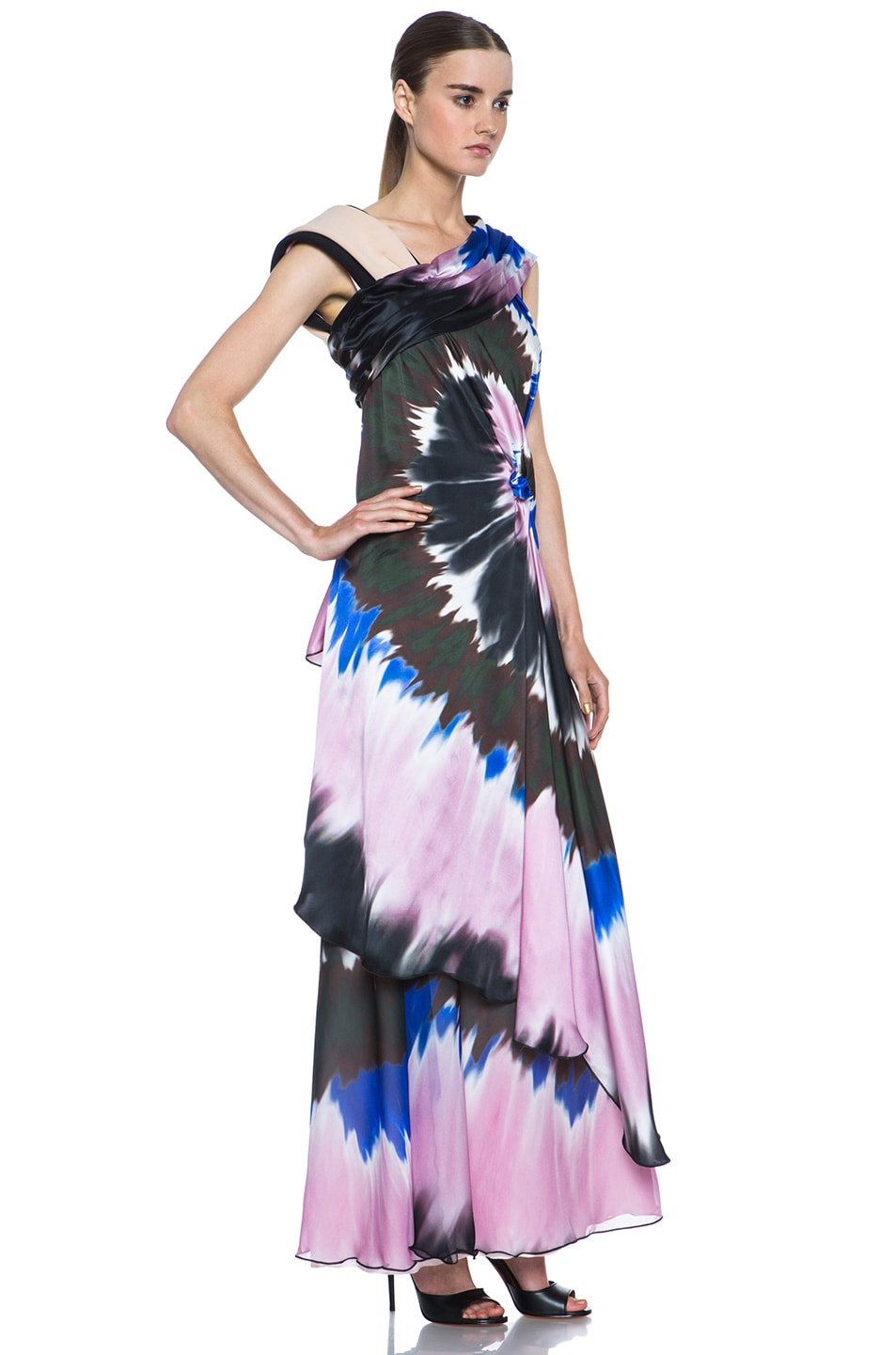 Image 3 of Rodarte Printed Tie Dye Silk Gown in Blue & Pink & Black
