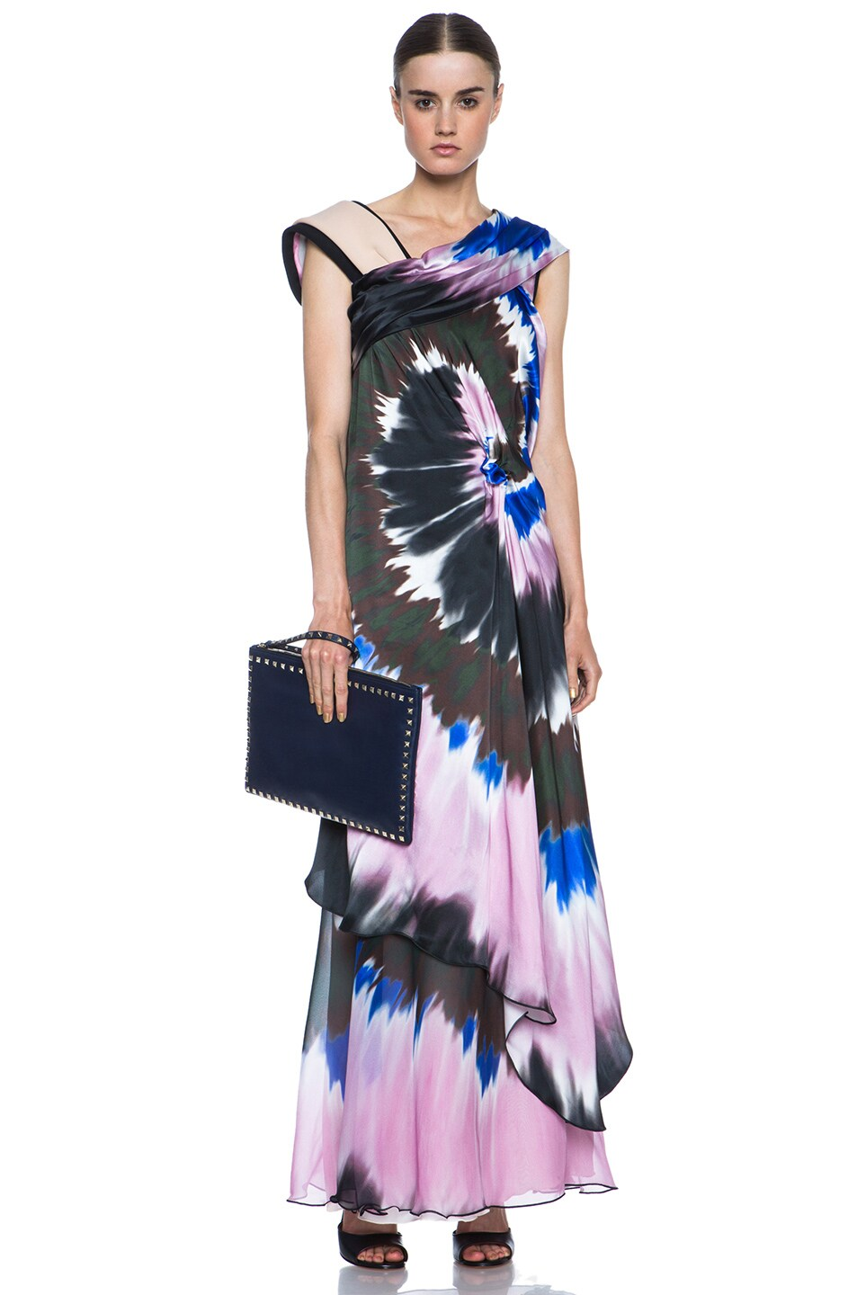 Image 5 of Rodarte Printed Tie Dye Silk Gown in Blue & Pink & Black