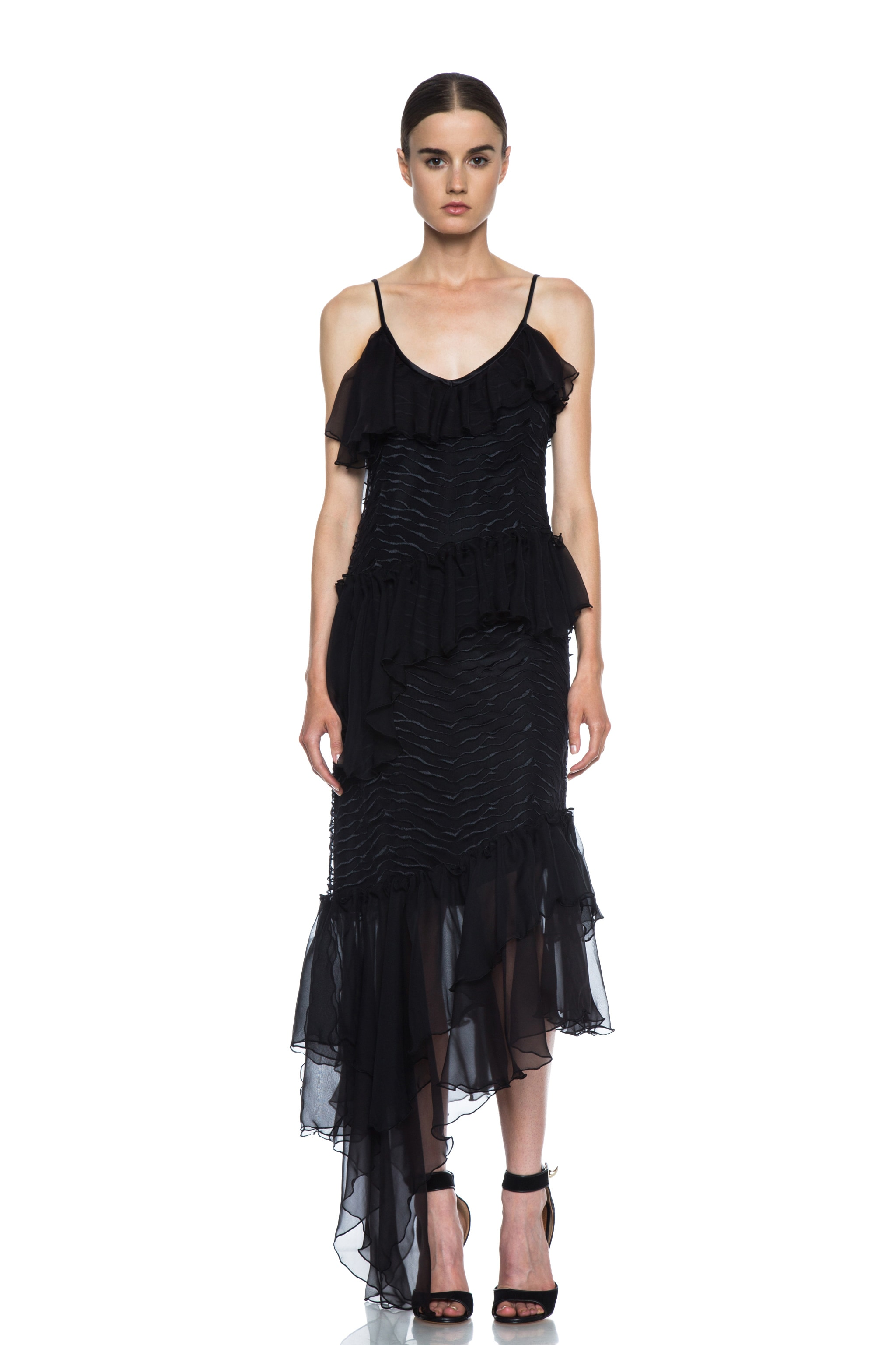 Image 1 of Rodarte Lined Embroidered Silk Dress with Chiffon Ruffles in Black