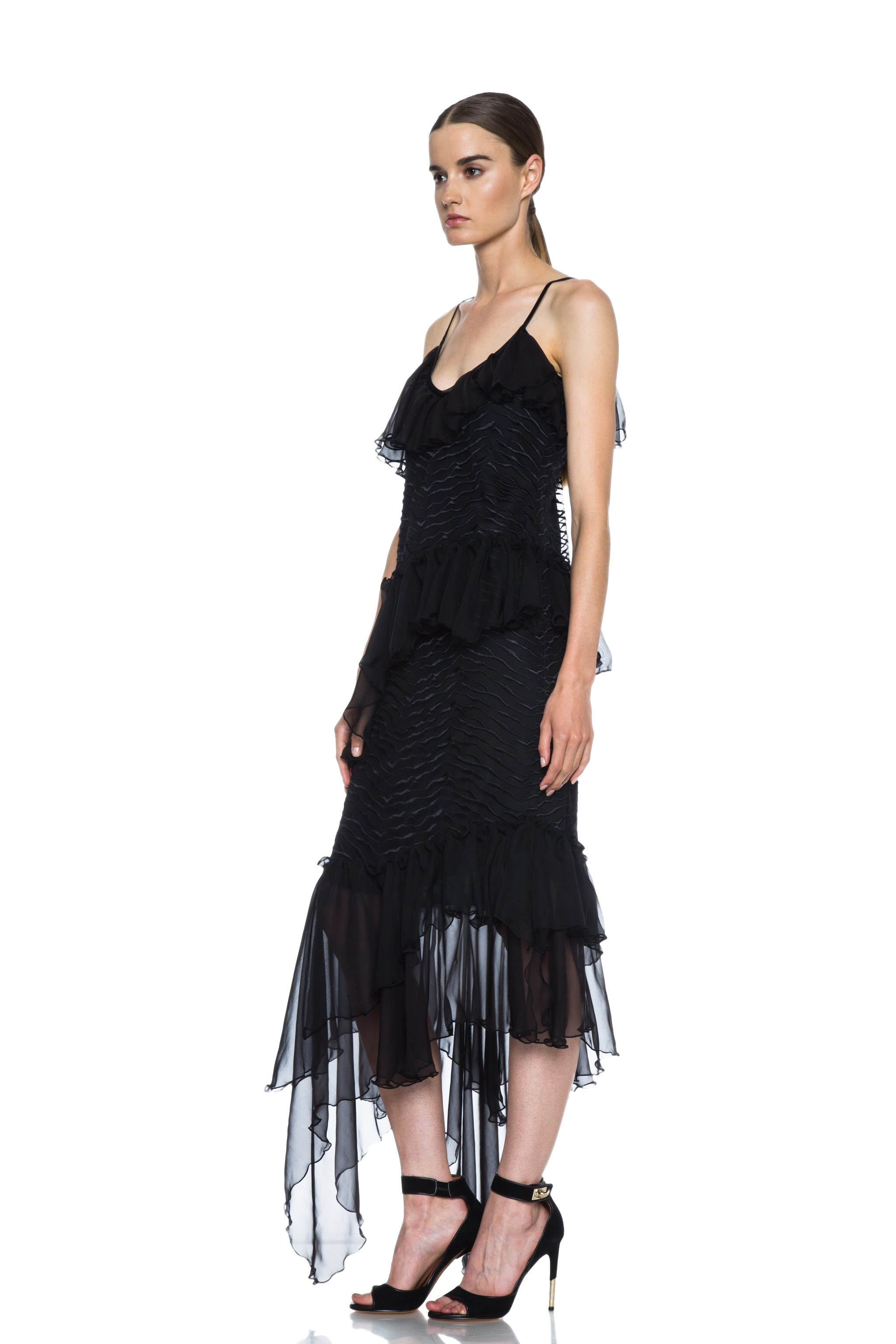 Image 2 of Rodarte Lined Embroidered Silk Dress with Chiffon Ruffles in Black