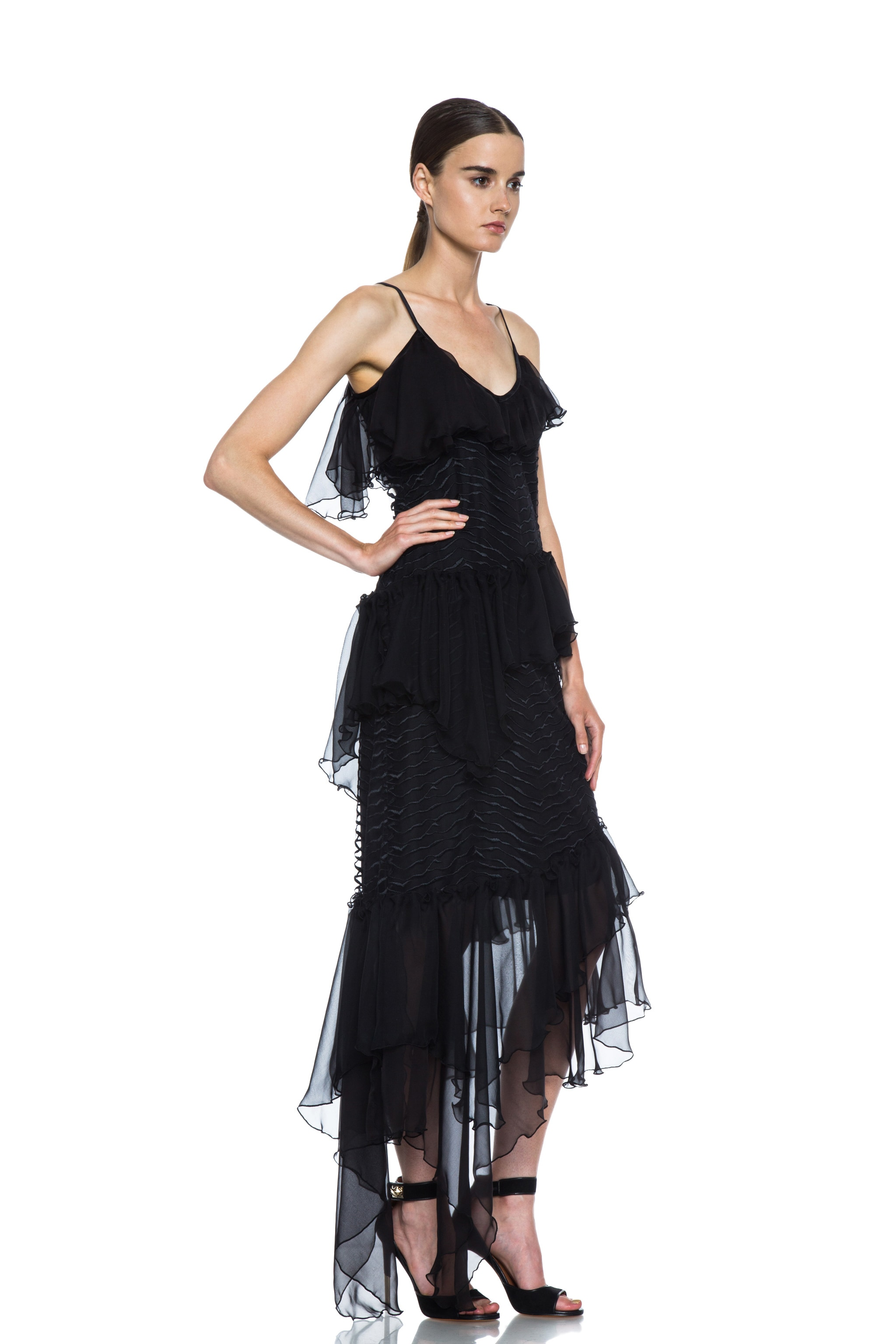 Image 3 of Rodarte Lined Embroidered Silk Dress with Chiffon Ruffles in Black