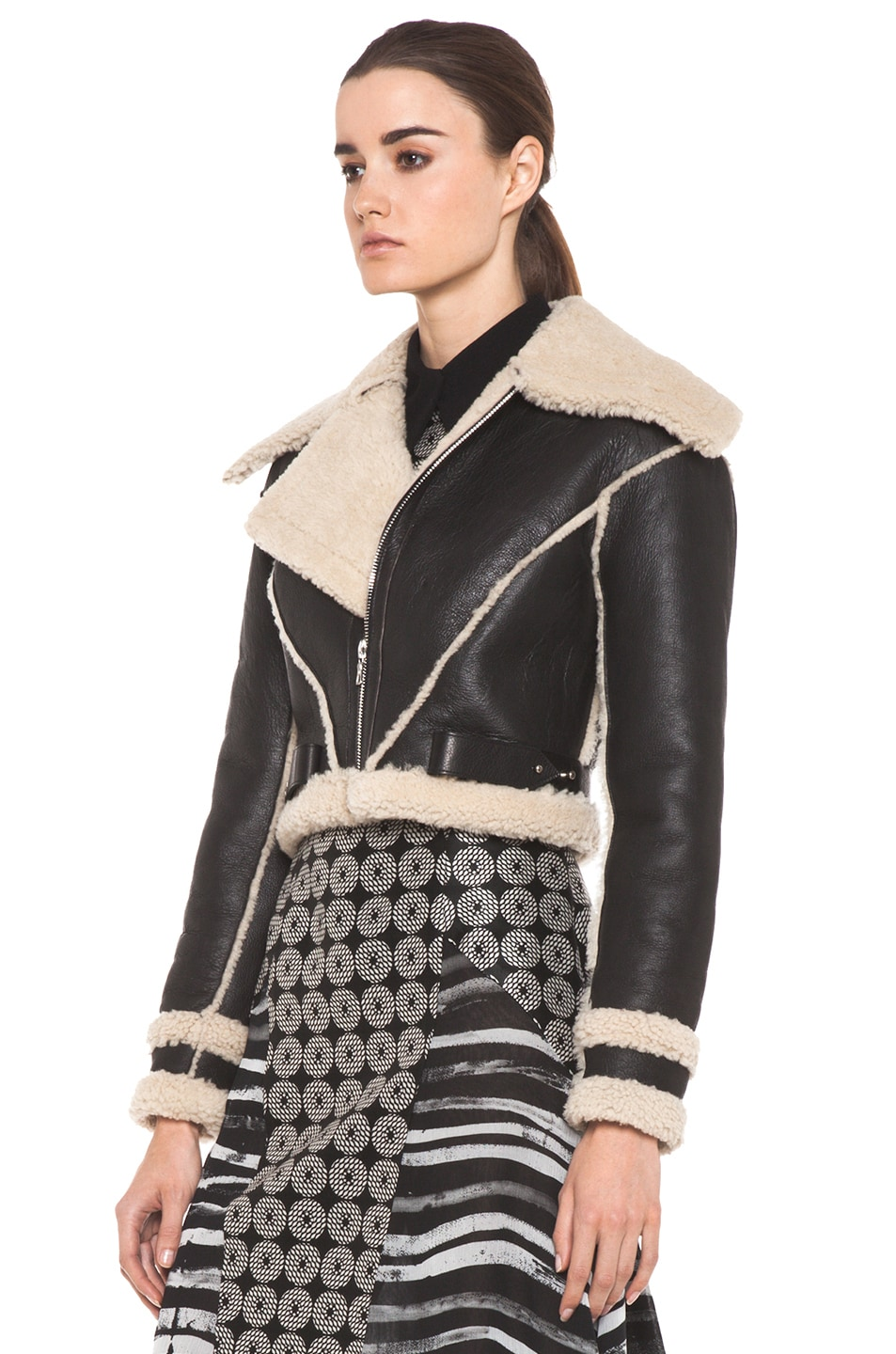 Image 3 of Rodarte Cropped Shearling Jacket in Black