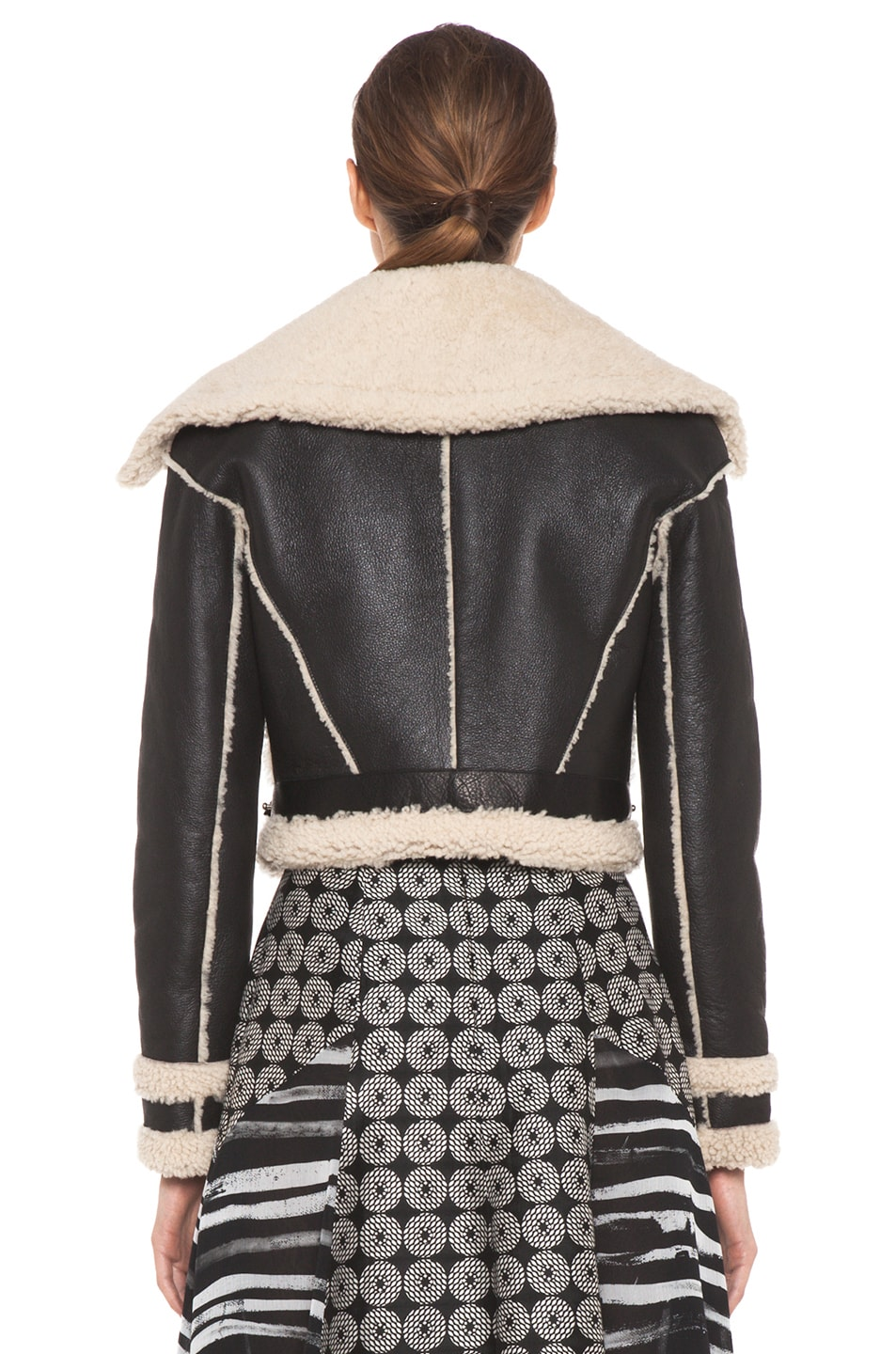 Image 5 of Rodarte Cropped Shearling Jacket in Black