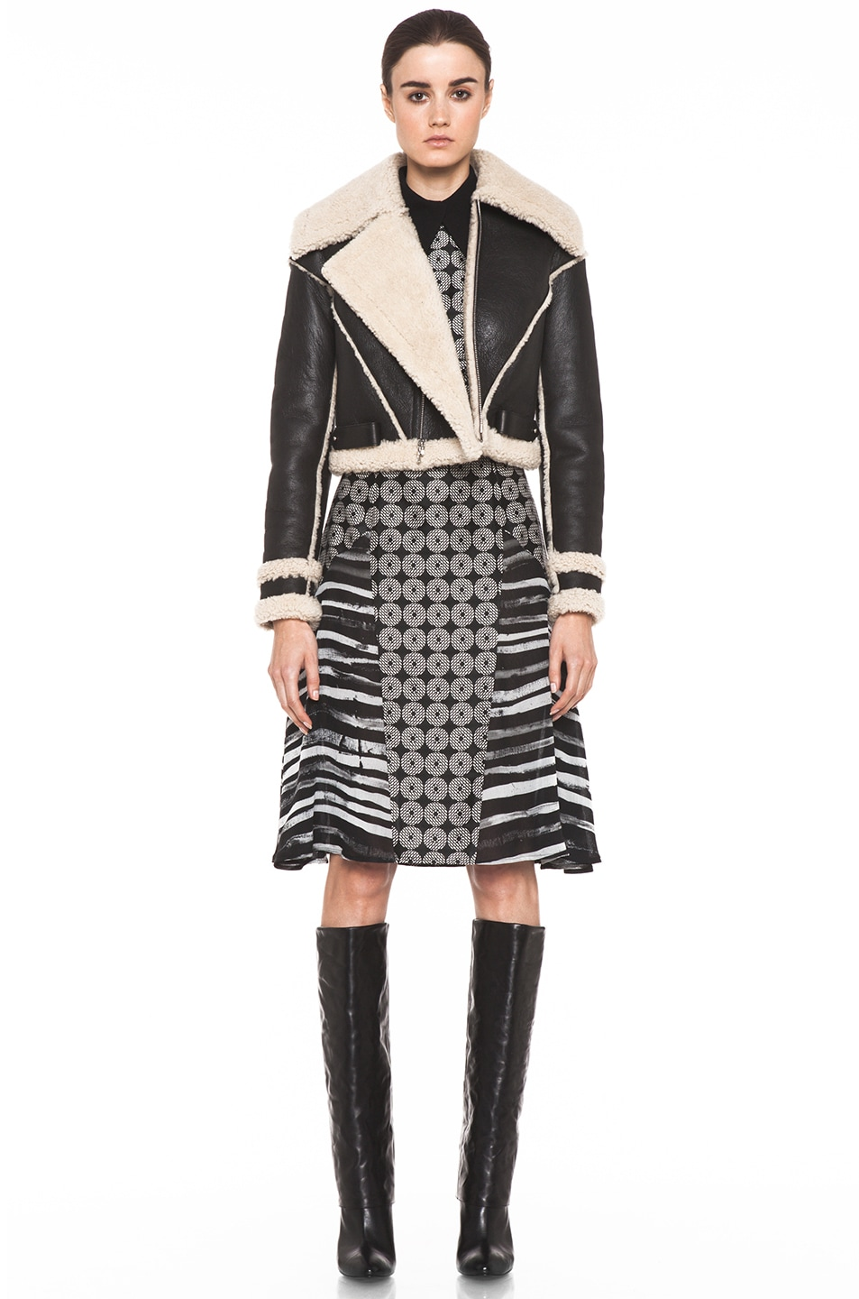 Image 6 of Rodarte Cropped Shearling Jacket in Black