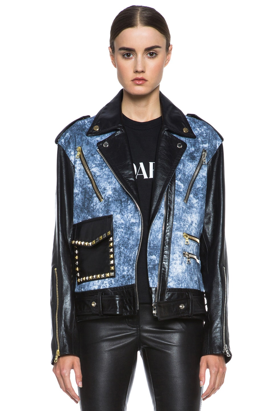 Image 1 of Rodarte Studded Acid Wash Leather Jacket in Black