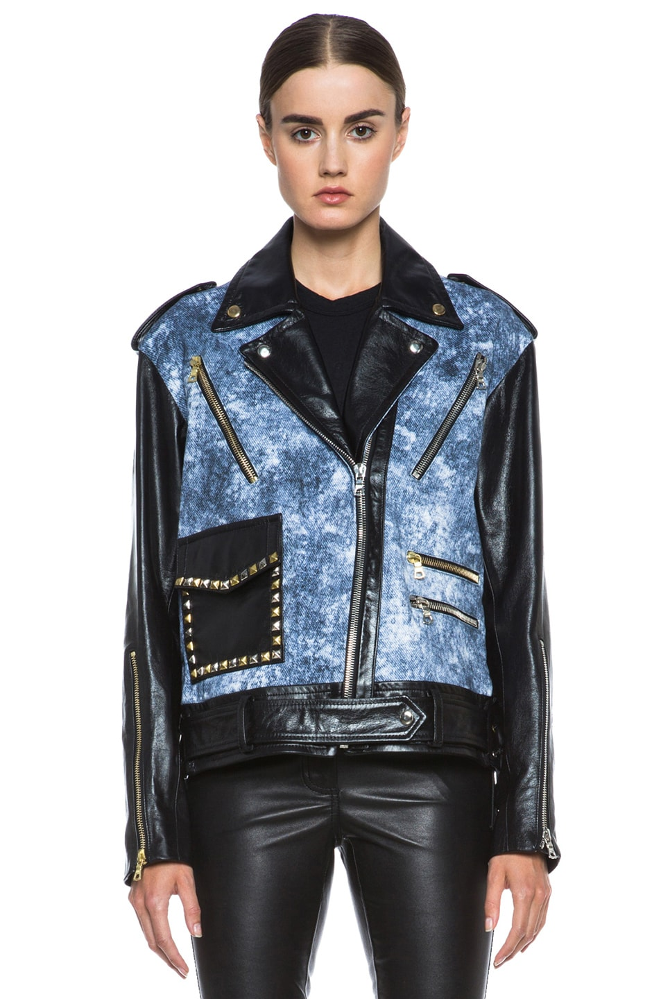 Image 2 of Rodarte Studded Acid Wash Leather Jacket in Black