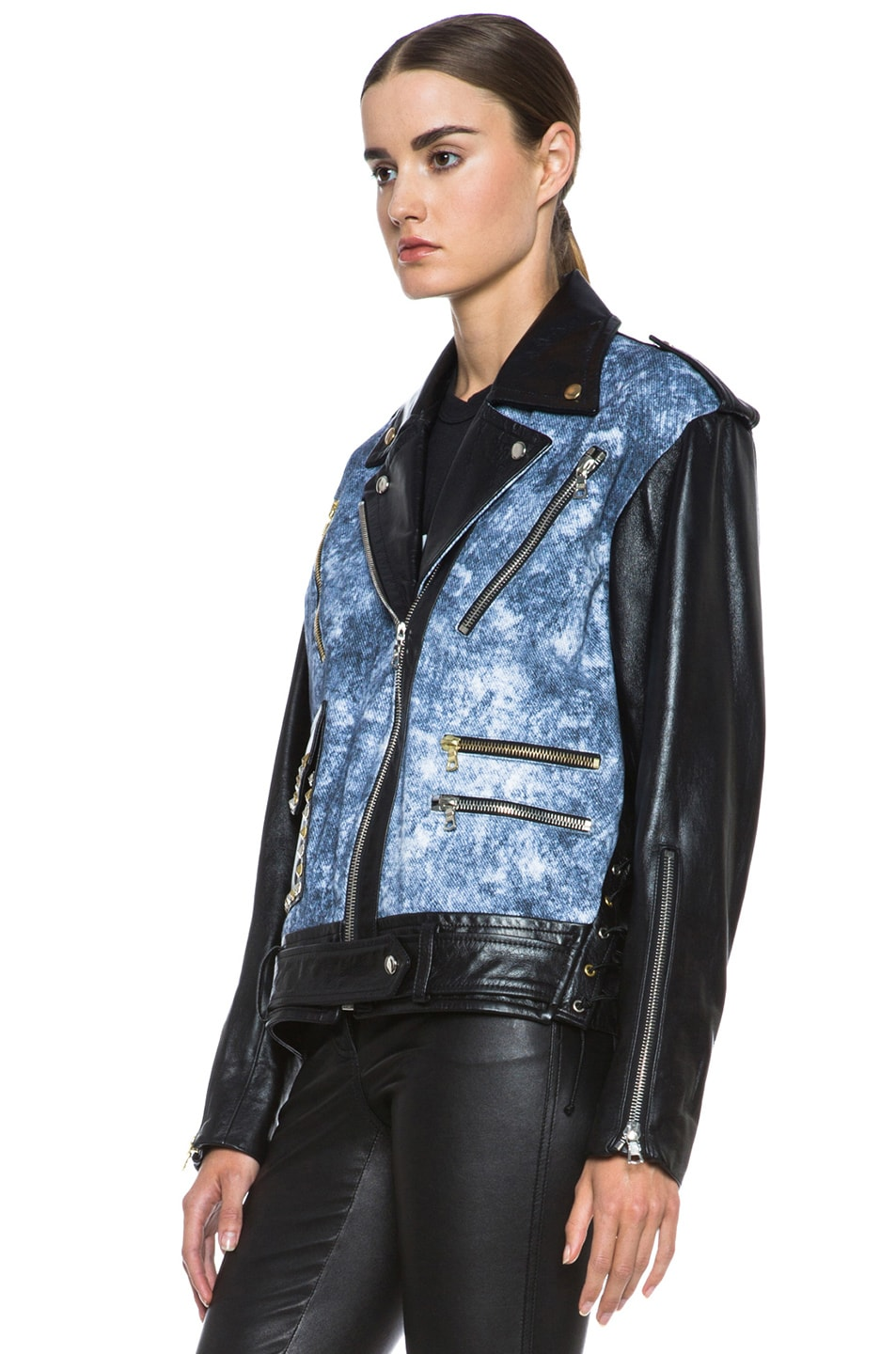 Image 3 of Rodarte Studded Acid Wash Leather Jacket in Black