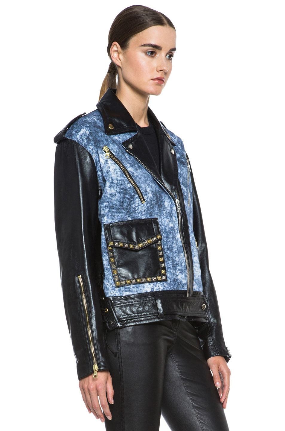Image 4 of Rodarte Studded Acid Wash Leather Jacket in Black