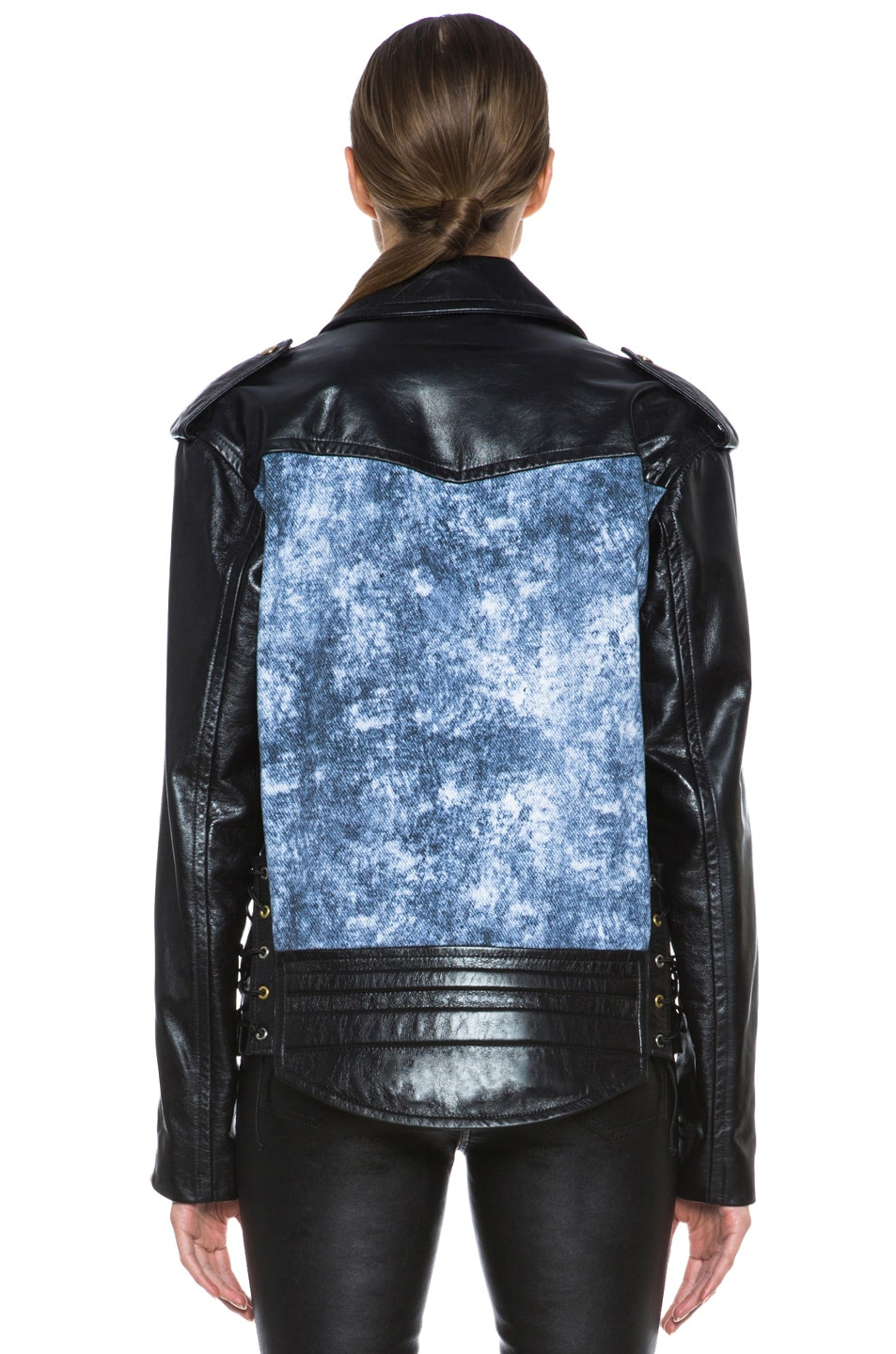 Image 5 of Rodarte Studded Acid Wash Leather Jacket in Black