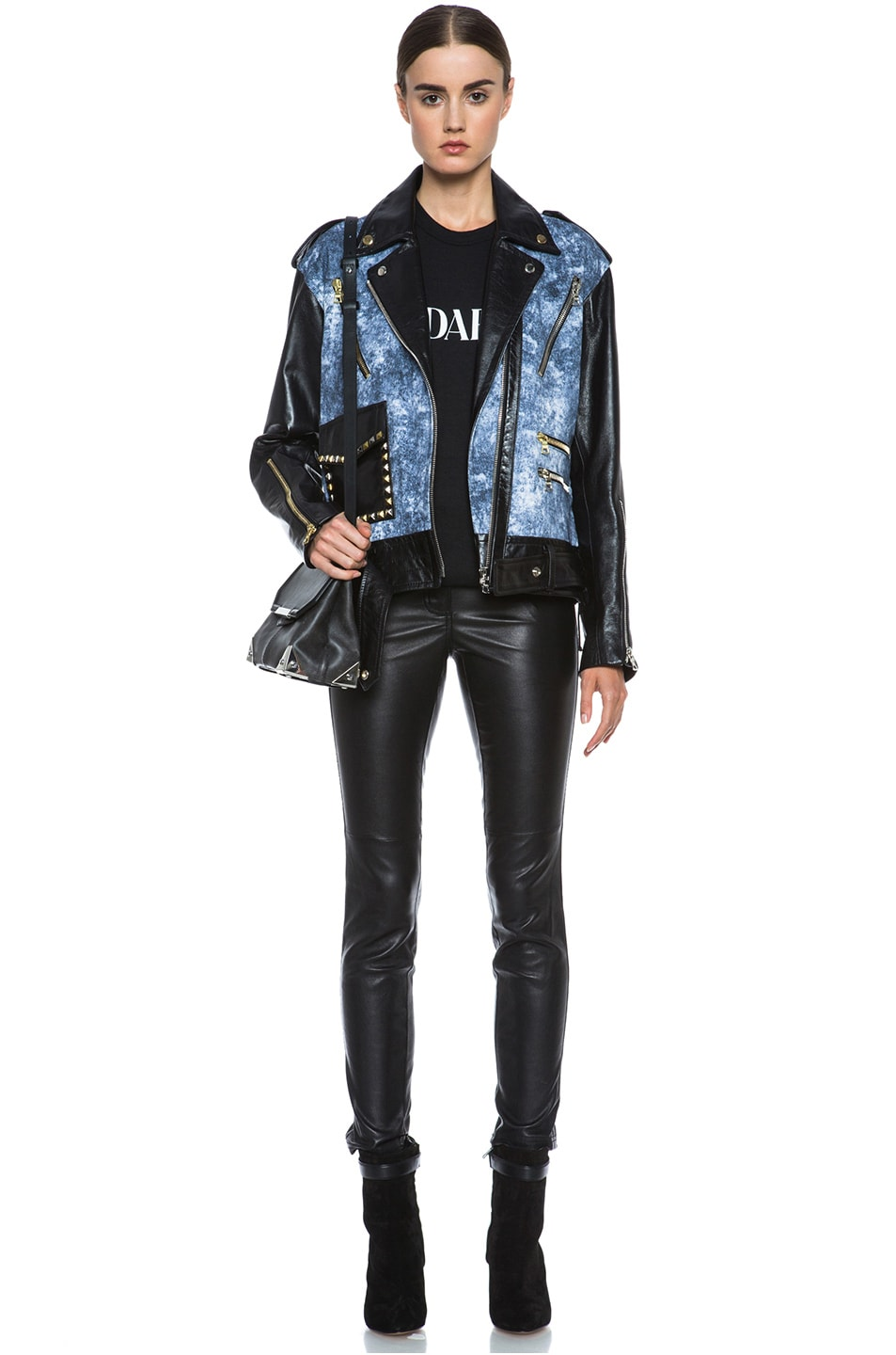 Image 6 of Rodarte Studded Acid Wash Leather Jacket in Black