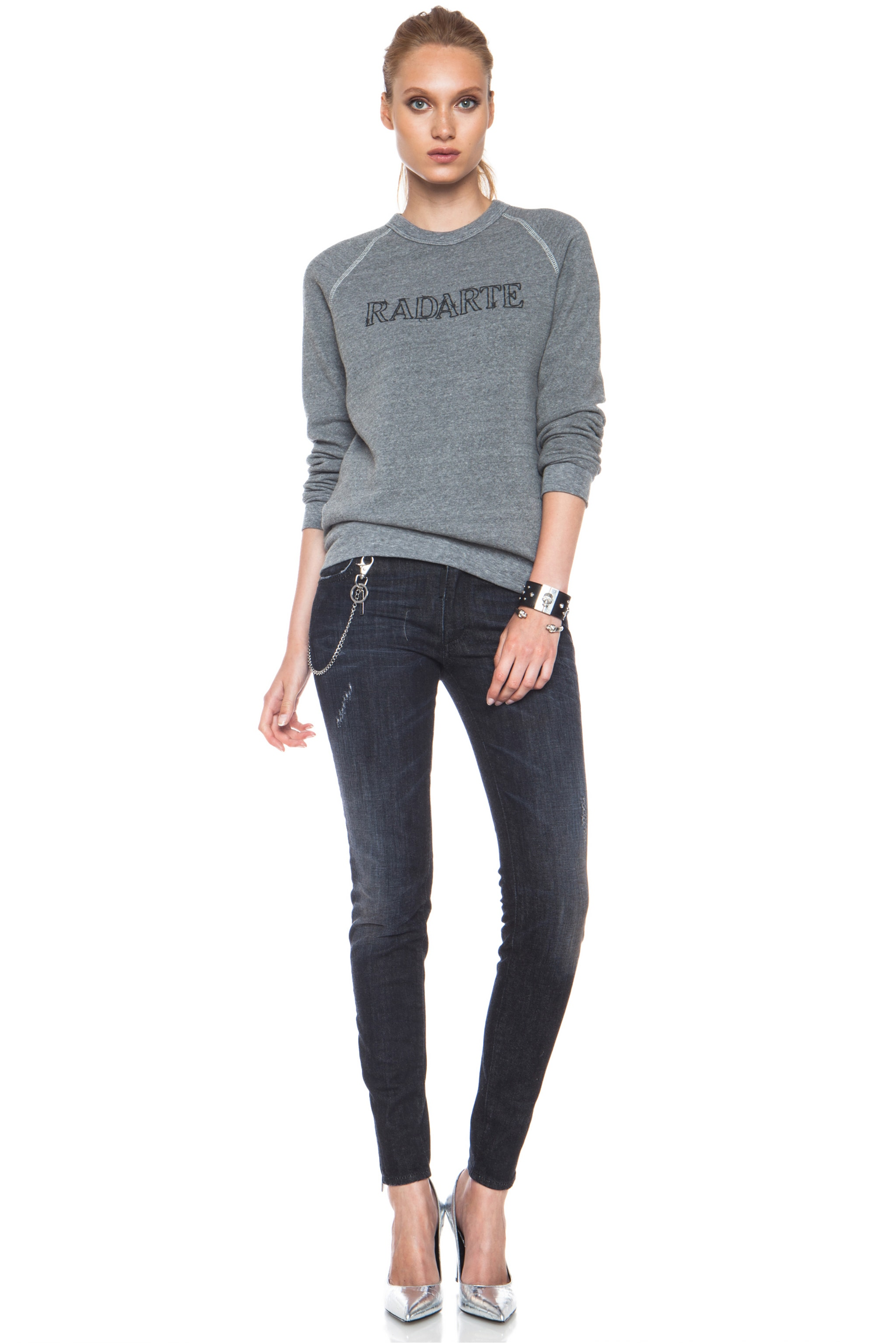 Image 5 of Rodarte Barbed Wire Poly-Blend Sweatshirt in Heather Grey