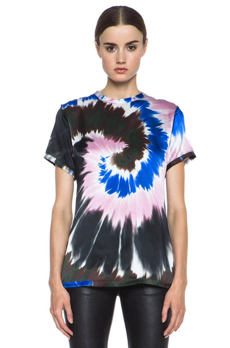 Image 1 of Rodarte Tie Dye Silk Tee in Pink & Blue & White