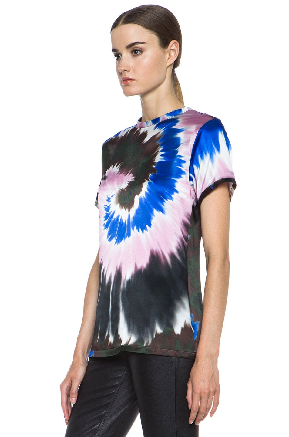 Image 2 of Rodarte Tie Dye Silk Tee in Pink & Blue & White