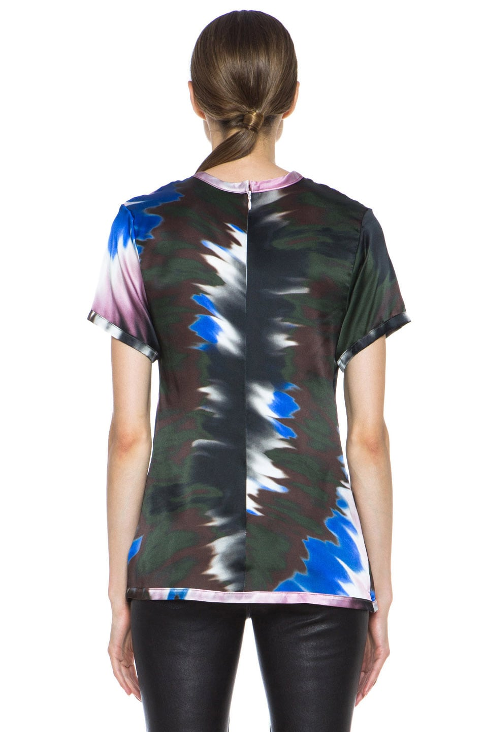 Image 4 of Rodarte Tie Dye Silk Tee in Pink & Blue & White
