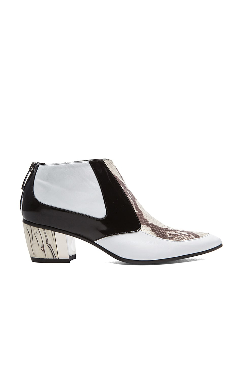 Image 1 of Rodarte Snakeskin Embossed Leather Booties in White, Black, & Grey