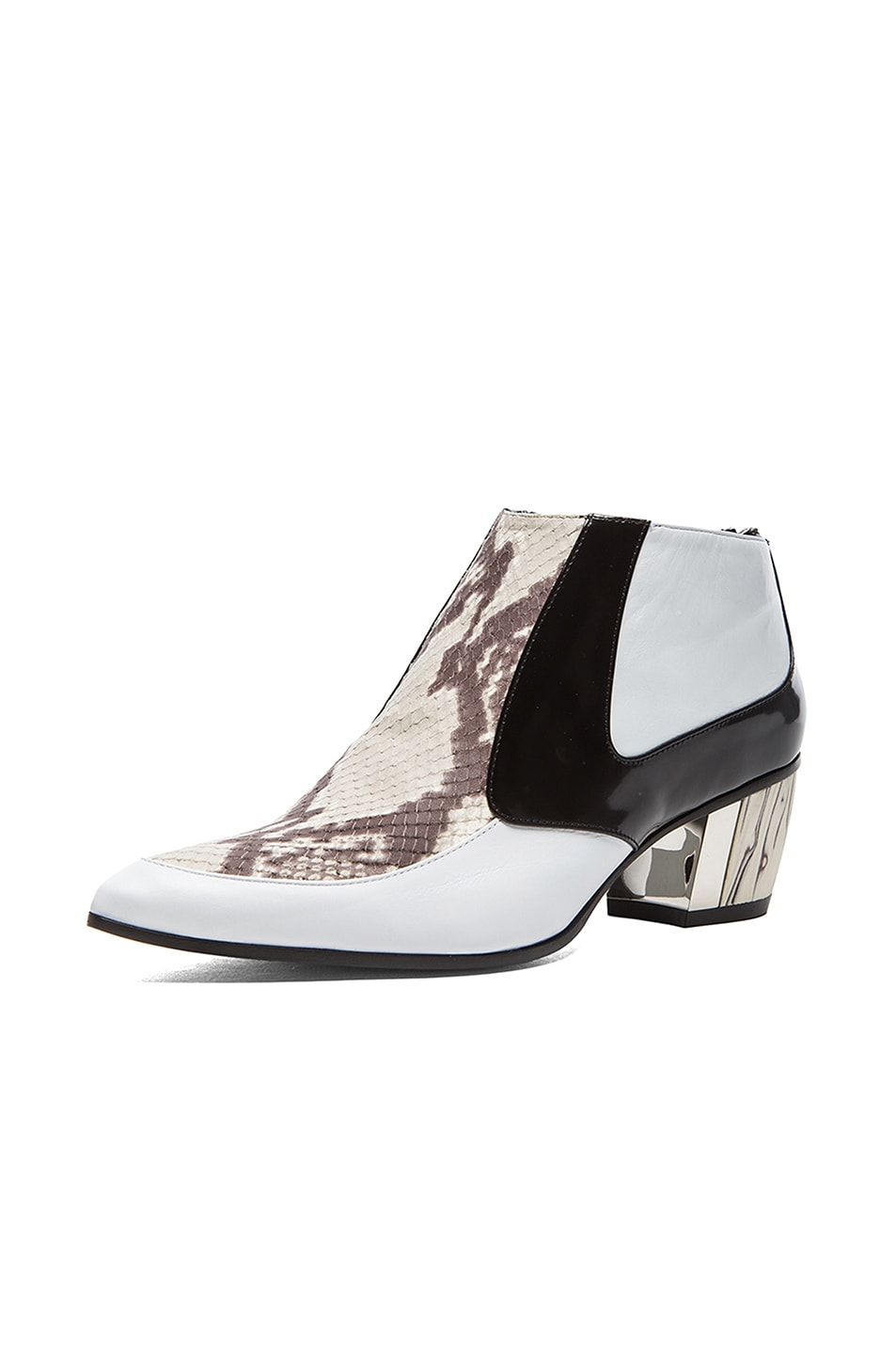 Image 2 of Rodarte Snakeskin Embossed Leather Booties in White, Black, & Grey