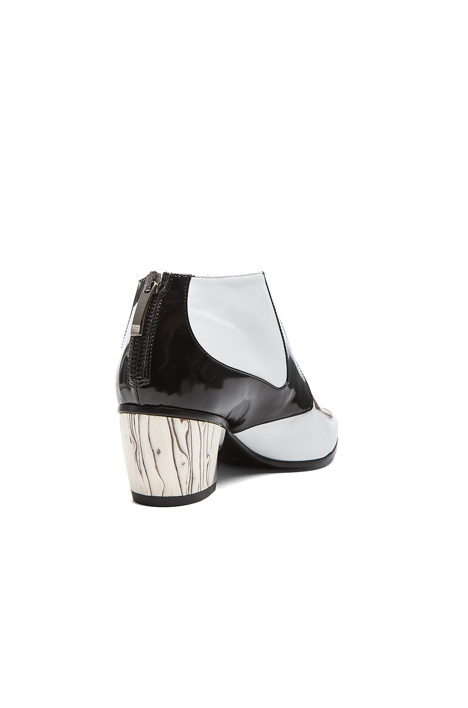 Image 3 of Rodarte Snakeskin Embossed Leather Booties in White, Black, & Grey
