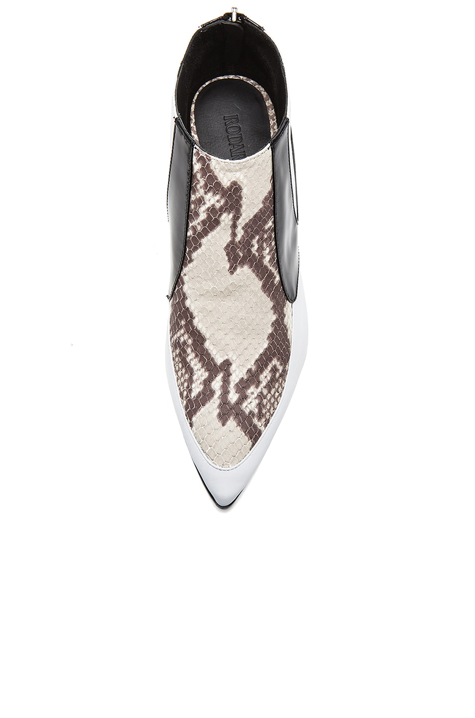 Image 4 of Rodarte Snakeskin Embossed Leather Booties in White, Black, & Grey