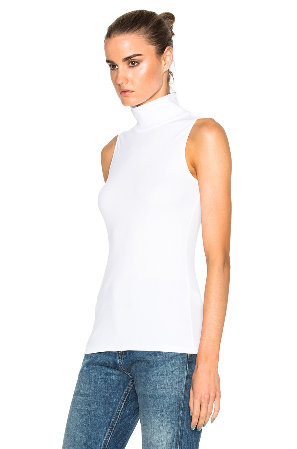 Rosetta getty cotton mock neck sleeveless top white for Sleeveless mock turtleneck shirts